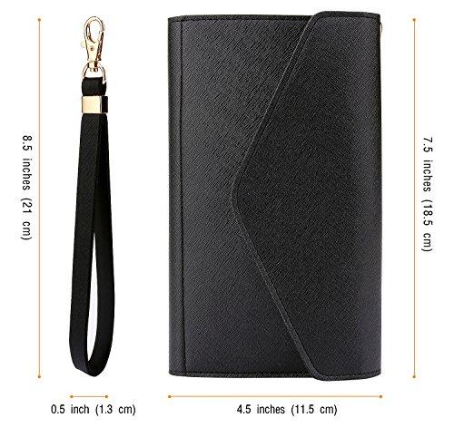 Krosslon Womens Travel Passport Holder Rfid Tri-fold Wallet Document Organizer Bag with Wristlet, 1# Black