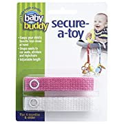 Baby Buddy Secure-A-Toy - Straps Toys, Teether, or Pacifiers to Strollers, Highchairs, Car Seats— Safety Leash With Adjustable Length to Keep Toys Sanitary & Clean, Pink/White 2 Count