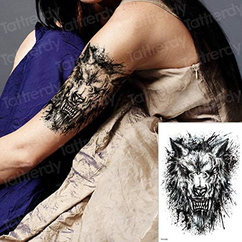 tzxdbh Lobo Feroz Bestia Pegatinas temporales del Tatuaje Mujeres ...