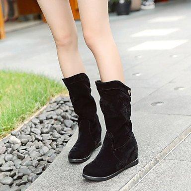US10 Comfort Black EU42 Fall Women'S Comfort 4In Heel 2In Casual Leatherette Almond Winter 2 5 Wedge Buckle Walking CN43 UK8 3 RTRY 5 Dress Boots 64xwHHn