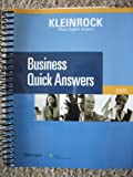 Kleinrock's Quick Business Answers 2009, Kleinrock Tax Law Editors, 0808018809