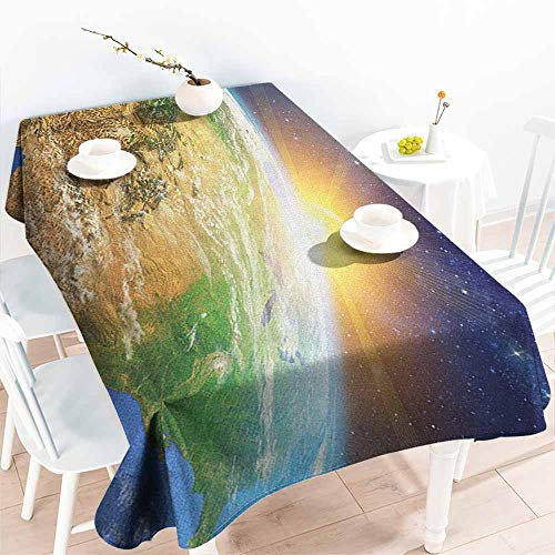(Willsd Custom Tablecloth,Outer Space Celestial View of Sunrise Over The Planet Earth with Star Field Pacific Ocean,High-end Durable Creative Home,W50x80L Multicolor)