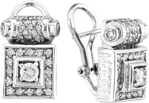 Antique Style Diamond Earrings, 18K White Gold