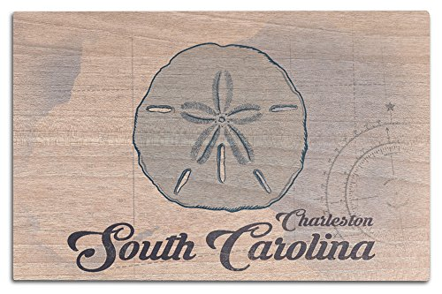 Lantern Press Charleston, South Carolina - Sand Dollar - Blue - Coastal Icon (12x18 Wood Wall Sign, Wall Decor Ready to Hang)