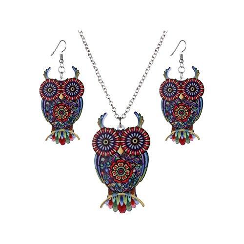 Spiritlele Vintage Colors Enamel Pattern Unicorn Skull Owl Earrings Necklace Set Resin Jewelry Pack