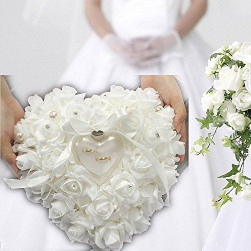 (ZJchao Red Rose Heart Shaped Ring Box Ring Box Pillow Cushion Romantic Wedding Favors Jewelry Case Ring (White))