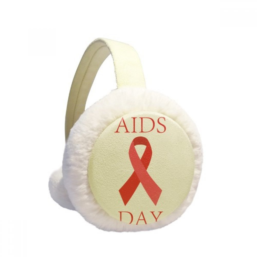 AIDS Day 1st December Red Ribbon HIV Symbol Winter Earmuffs Ear Warmers Faux Fur Foldable Plush Outdoor Gift