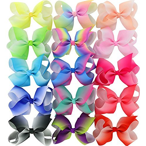 15 Piece 4.5 Inches Grosgrain Girls Hair Bows With Alligator Clips Boutique Big Rainbow Bows For Teens Kids Toddlers