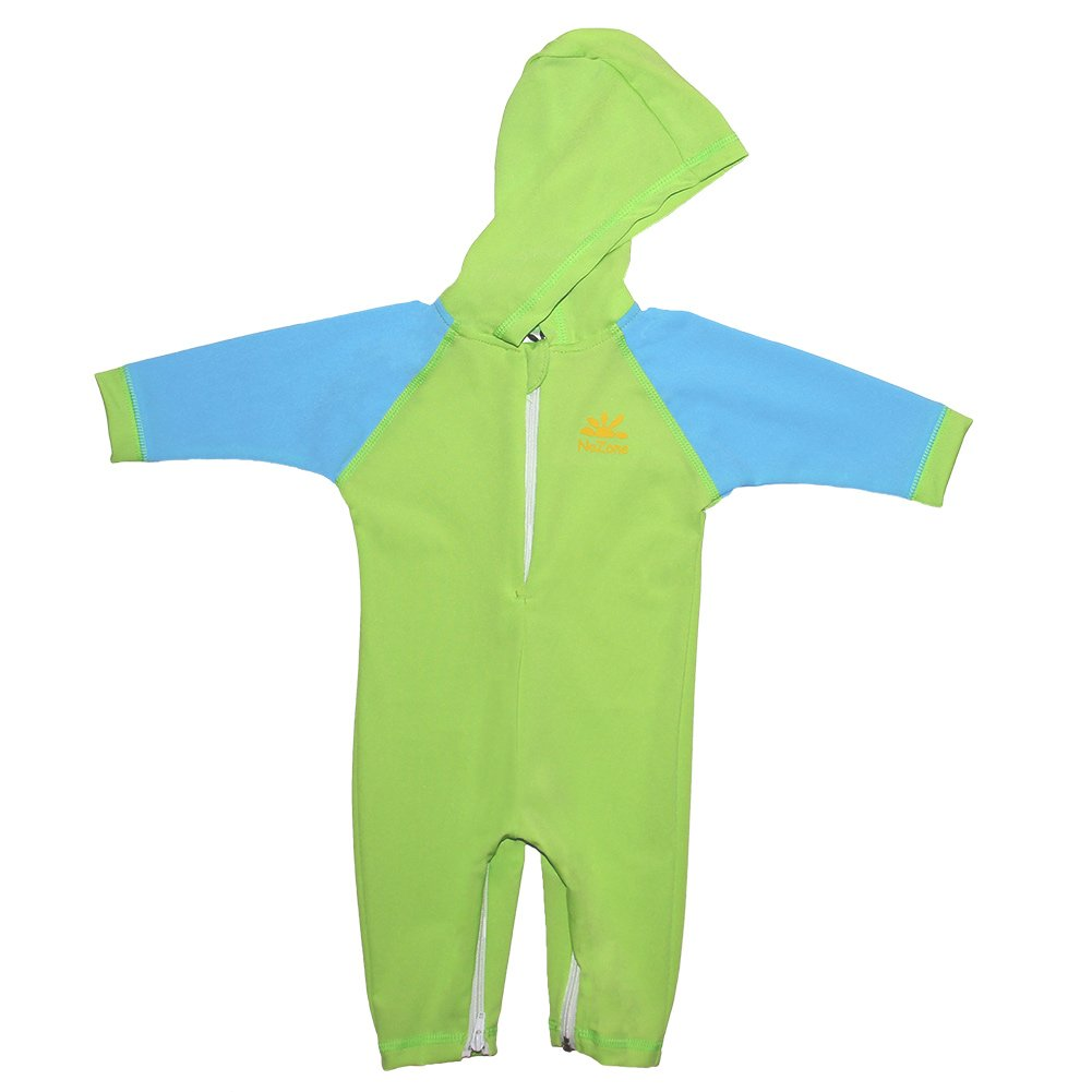 Nozone Kailua Hooded Baby Sun Protective Swimsuit in Lime/Aqua, 12-18 Months 2030lmaa12-18