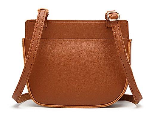 La mujer Xinmaoyuan Bolsos Bolso Bolso Messenger Retro hebilla magnética Pu bolsa cuadrado pequeño, marrón Brown