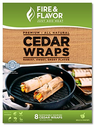 Cedar Paper Cooking - Fire & Flavor Fire & Flavor 8.5 x 6.25 Inch Western Red Cedar Wraps (8 Papers), 2 Ounce Package