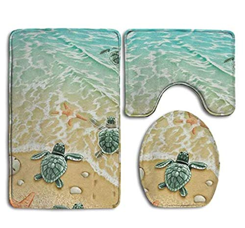 (Bath Mat,Turtles On The Beach Bathroom Carpet Rug,Non-Slip 3 Piece Bathroom Mat Set)