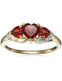 10k Yellow Gold Gemstone and Diamond Accent Triple Heart Ring