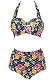 Swimsuit, Abary Vintage High Waisted Flowers Polka Dots Bikini 3XL(US 10-12)