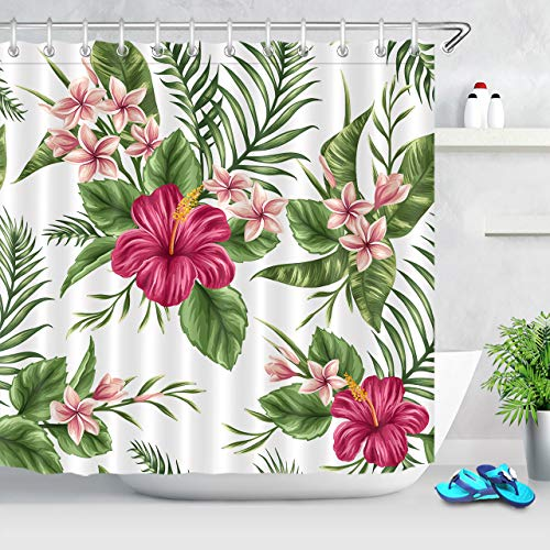 LB Hawaiian Tropical Leaf Flowers Decor Shower Curtain for Bathroom, Hibiscus Plumeria Floral Plant Theme, Water Repellant Decorative Curtain, 70 x 70 Inch (Shower Vintage Curtain Tropical)