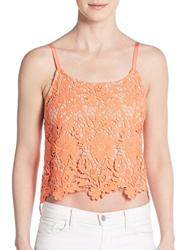 Alice + Olivia Alanis Lace Crop Top, Coral/Nude, Small