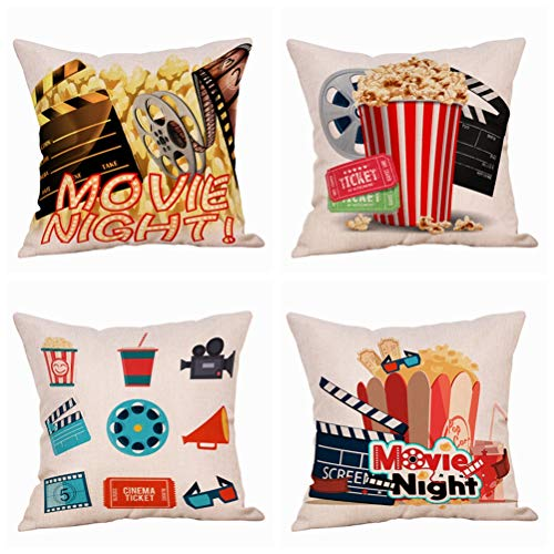 Steven.Smith Movie Theater Cinema Personalized Cotton Linen Square Burlap Decorative Throw Pillow Case Cushion Cover 18 Inch (4 Pack Moive Night) ()