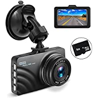 Car Dashboard Camera, OldShark 1080P HD Dash Cam Recorder 4-Lane Wide Angle View, 3 Vehicle Camera with G-Sensor, Loop Recording, Motion Detection, Parking Monitor 8GB SD Card Included