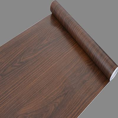 SimpleLife4U Brown Wood Grain Pattern Self-Adhesive Vinyl Wallpaper for Locker Furniture Covering 17.7 Inch by 32.8 Feet