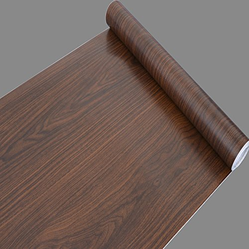 SimpleLife4U Brown Wood Grain Pattern Self-Adhesive Vinyl Wallpaper for Locker Furniture Covering 17.7 Inch by 32.8 - Brown Wood Pattern