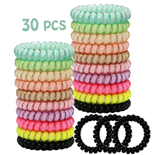 WillingTee 30pcs Candy Color Spiral Hair Ties, No Crease, Coil Hair Ties Phone Cord Hair Ties Hair Scrunchies Spiral Telephone Hair Ties Colorful Hair Accessories for Women and Girls