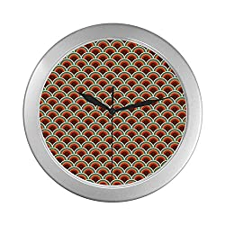 C COABALLA Circle Simple Silver Color Wall Clock,Conceptual Design Retro Style Circular Shapes Dots Spots Curvy Wavy Old Fashioned for Home Office,9.65 D