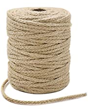 Tenn Well Braided Jute Twine, 61 Meters 3.5mm Wide Natural Jute Rope for Artworks and Crafts, Macrame Projects, Gardening Applications (8 Strands)
