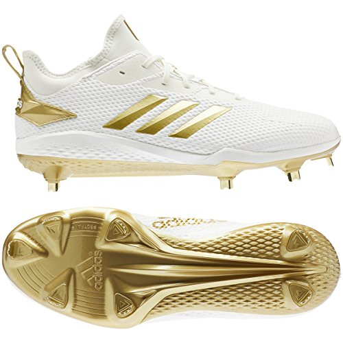 timeless design a57d1 75e24 adidas Men s Adizero Afterburner V Metal Baseball Cleats (8, White Gold)