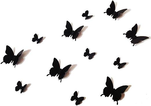 12pcs 3d Mariposa pegatina Arte Mural De Pared puerta calcomanías Decoración Del Hogar-Púrpura