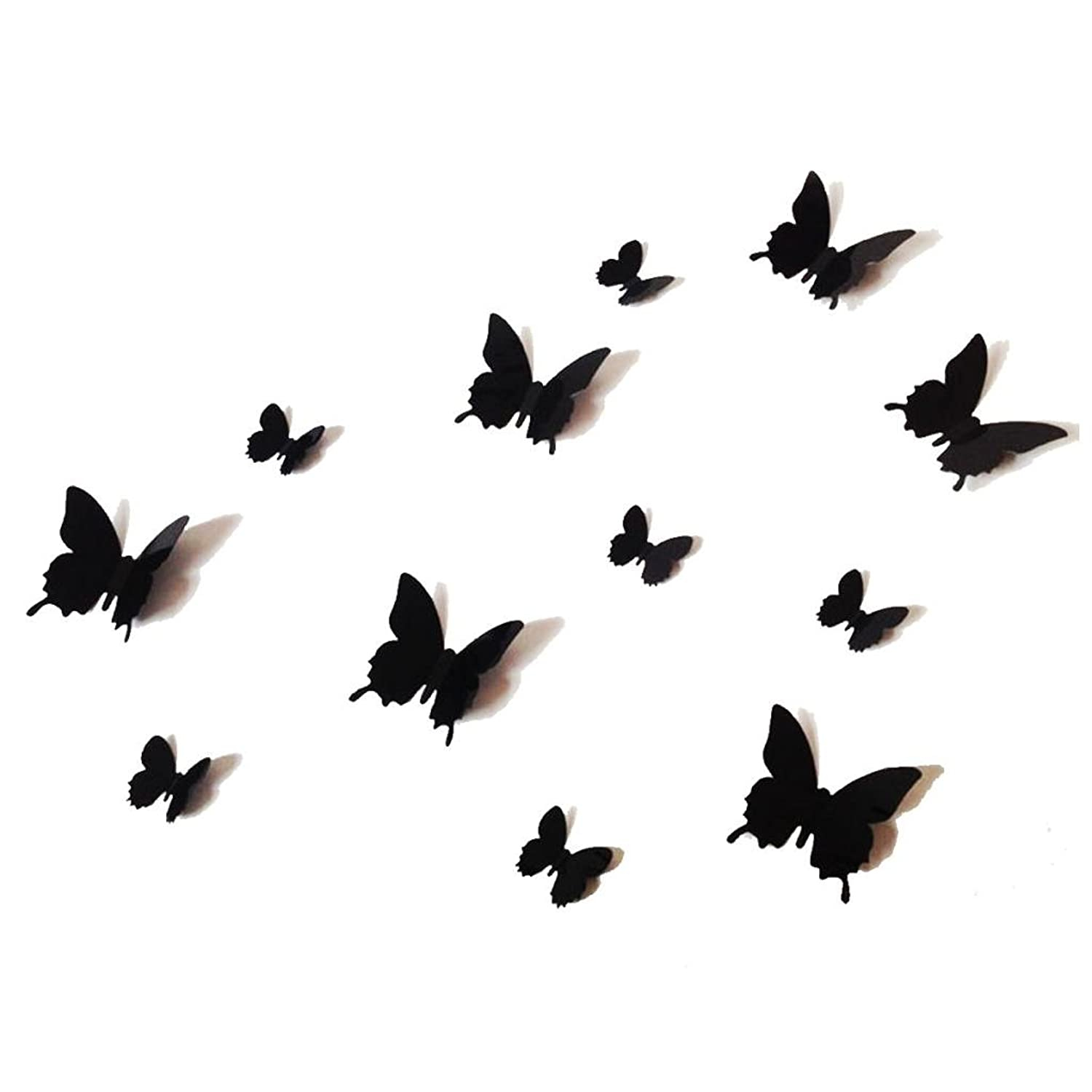 Amazoncom PCS D Black Butterfly Wall Stickers Art Decal PVC - Butterfly wall decals 3d