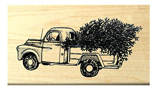 P118 Antique - Classic Pick up Truck with Christmas Tree Rubber Stamp ()
