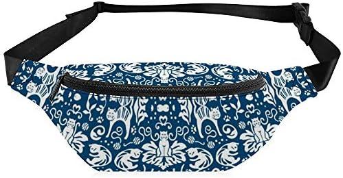 ダマスクキャッツ-ブルー ウエストバッグ ショルダーバッグチェストバッグ ヒップバッグ 多機能 防水 軽量 スポーツアウトドアクロスボディバッグユニセックスピクニック小旅行