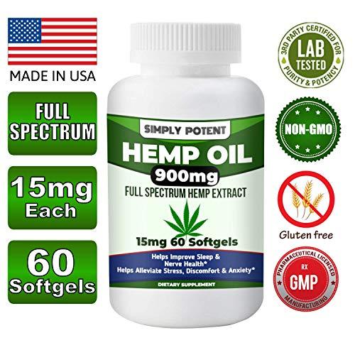 900mg Hemp Oil Capsule for Pain Relief, Full Spectrum Hemp Oil Softgel, Hemp Extract Capsule from Hemp Seeds & Stalk for Stress & Anxiety Relief, Healthy Sleep, Mood & Brain Health (15mg 60 Softgels)