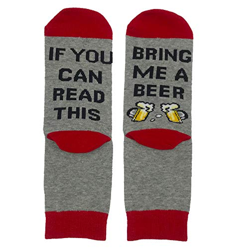 Lettou Novelty Beer Socks, If You Can Read This Bring Me - Wine, Beer, Taco, Coffee - Funny and Gag Gifts for Men and Women