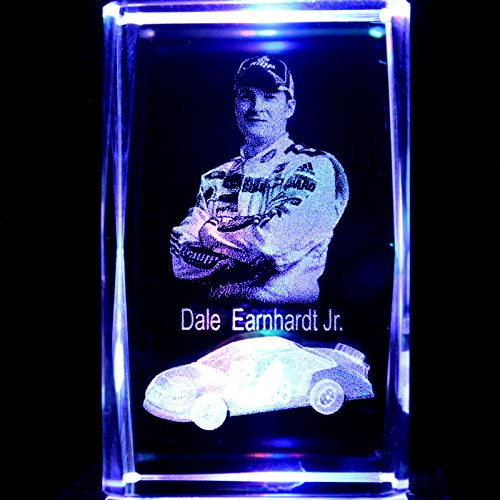 NASCAR Dale Earnhardt Jr. 3D Laser Etched Crystal + Display Light Base