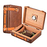 Scotte Portable cigars humidors wood & leather handheld cigar humidors travel cigar box