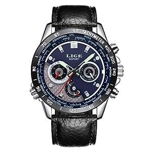 Reloj,Relojes Hombres LIGE Cronógrafo Reloj de Cuarzo Regalos Reloj de Cuero Negocio de Moda Impermeable Negro Azul Vestido de Correa de Cuero Reloj Niños Militar Relojes Deportivos para hombr