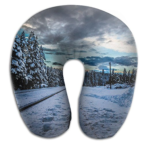 Laurel Neck Pillow Winter Forest Railroad Travel U-Shaped Pillow Soft Memory Neck Support for Train Airplane Sleeping