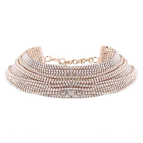 SOURBAN Iumer Multilayer Shiny Full Rhinestone Collar Choker Necklace for Wedding Party or Prom,Gold (Collar Rhinestone Party)