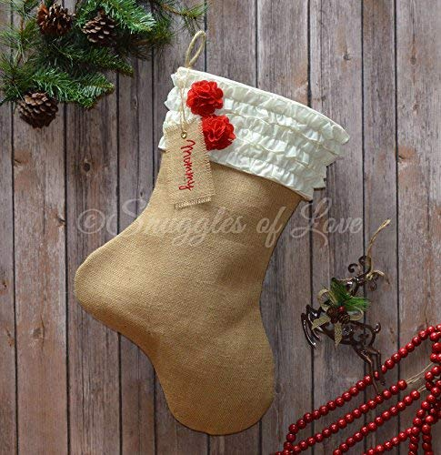burlap christmas stocking natural tan burlap with ivory cream ruffled stocking cuff with red burlap - Burlap Christmas Stocking