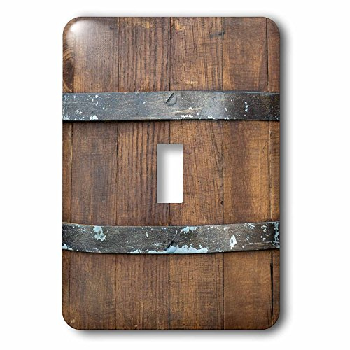 (3dRose Alexis Photography - Texture Wood - Image of a wooden barrel, metal bands. Closeup view. Wooden texture - Light Switch Covers - single toggle switch (lsp_286653_1))