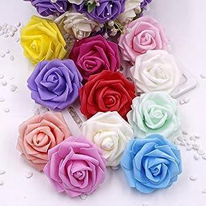 XGM GOU 100Pcs/Lot 6Cm Foam Rose Heads Artificial Artificial Flower Heads Bouquet Wedding Decoration Festive & Party 25