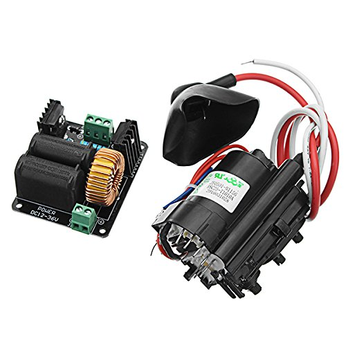 DC 12-36V 10A 300W ZVS Tesla Coil High Voltage Genrator Driver Board Discharge Flyback Genrator Module Long Arc Ignition Coil For SGTC/Marx Generator/Jacob's Ladder Heater -