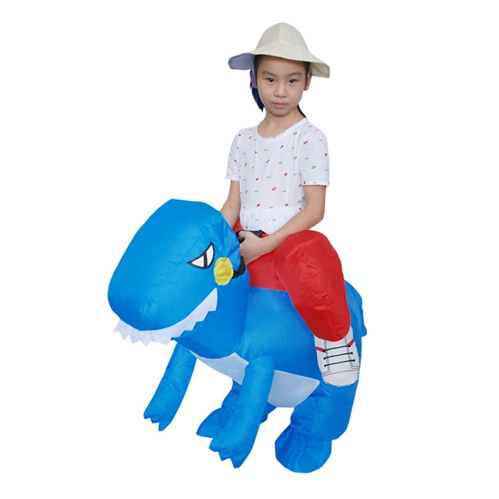 Birdfly Dinosaur Party Jumpsuit Costumes Inflatable Carnival Funny Clothes T-Rex Cosplay (Height 120-150cm, Blue)