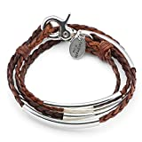 Mini Addison Braided Leather Wrap Bracelet with Silverplate Crescents in Natural Antique Brown Leather (Medium)