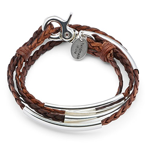 Mini Addison Braided Leather Wrap Bracelet with Silverplate Crescents in Natural Antique Brown Leather (Silver And Natural Leather Bracelet)