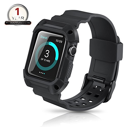 Youkex Apple Watch Band 42mm Rugged Protective Case with Replacement Straps for Apple Watch Series 1 Series 2 and Sport Edition (Black/Black)