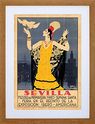 TRAVEL SEVILLE SPAIN AMERICAN FESTIVAL WOMAN BIRD FRAME PRINT PICTURE F12X1433 by The Art Stop