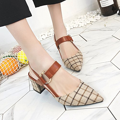 Luz De Solo Alto Verano Con Zapatos La GAOLIM Sandalias blanco La Hembra M Versátil Talón De Zapatos Hembra Grueso Y Del Punta Y Cabezal Y Primavera 6wx7Fa