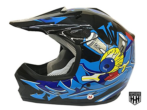 SmartDealsNow DOT Youth & Kids Helmet for Dirtbike ATV Motocross MX Offroad Motorcyle Street bike Flat Matte Black Helmet (Small, Black & Blue)